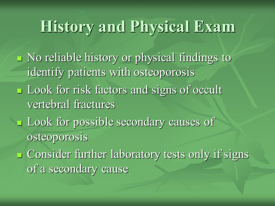 History and Physical Exam