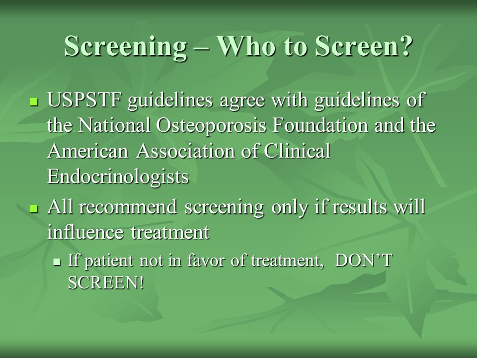 Screening – Who to Screen