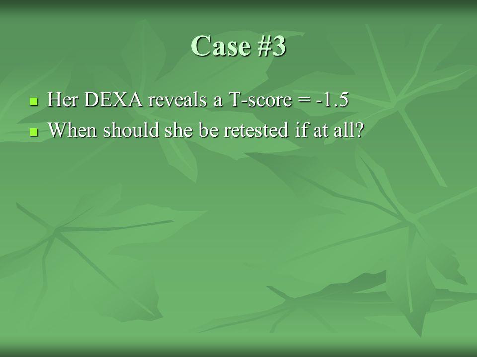 Case #3 Her DEXA reveals a T-score = -1.5