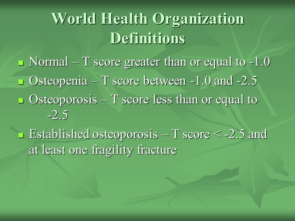World Health Organization Definitions