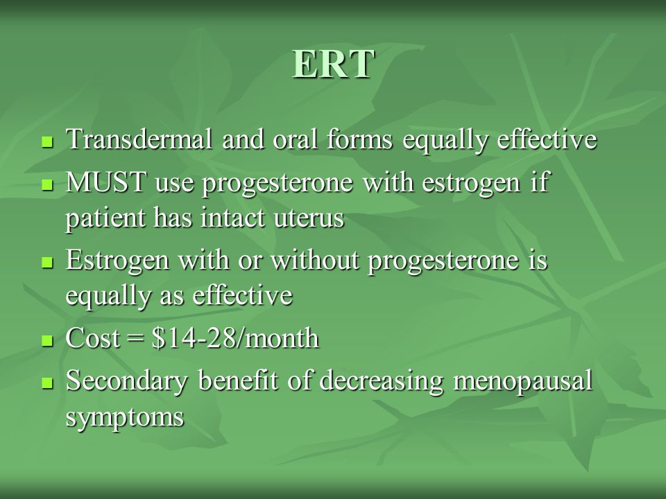 ERT Transdermal and oral forms equally effective
