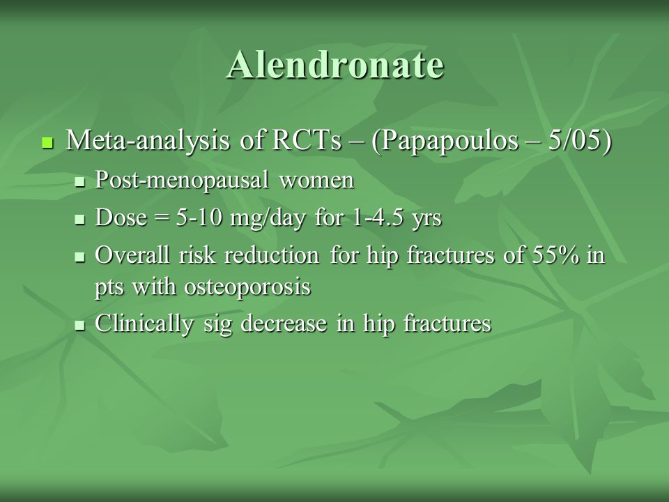 Alendronate Meta-analysis of RCTs – (Papapoulos – 5/05)