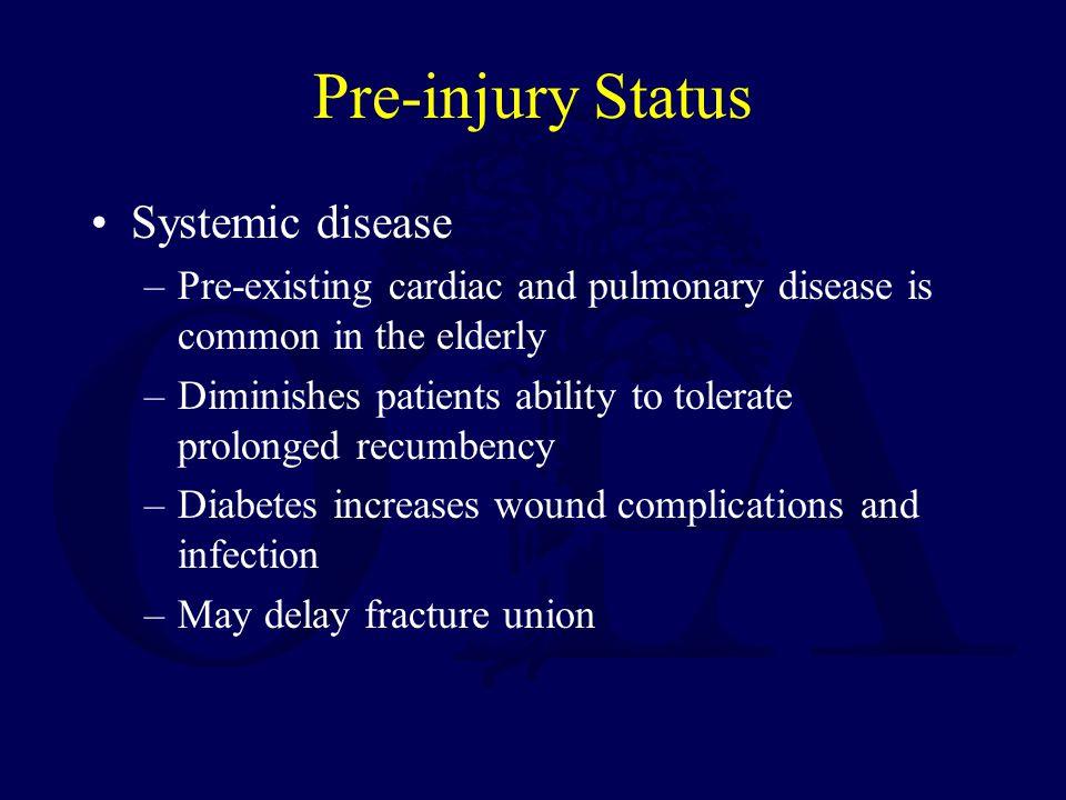 Pre-injury Status Systemic disease