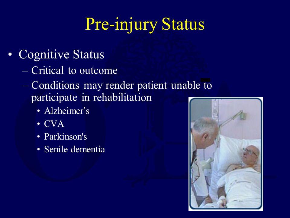 Pre-injury Status Cognitive Status Critical to outcome