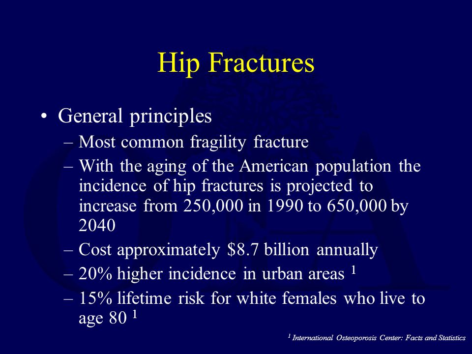 Hip Fractures General principles Most common fragility fracture