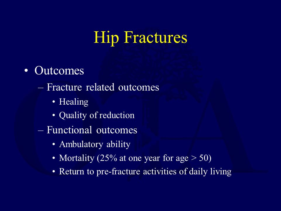 Hip Fractures Outcomes Fracture related outcomes Functional outcomes
