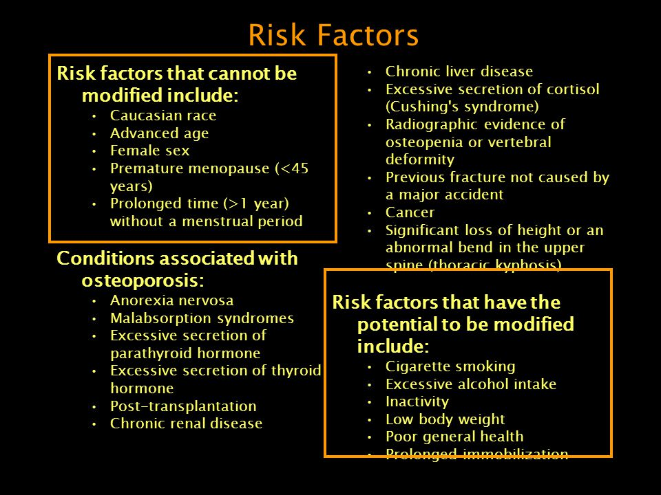 Risk Factors Risk factors that cannot be modified include: