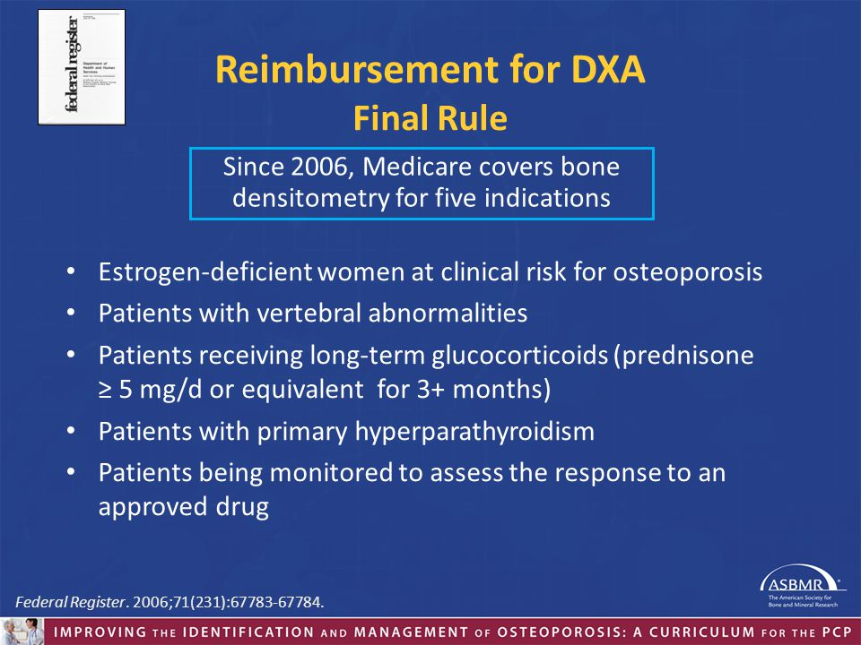 Reimbursement for DXA Final Rule