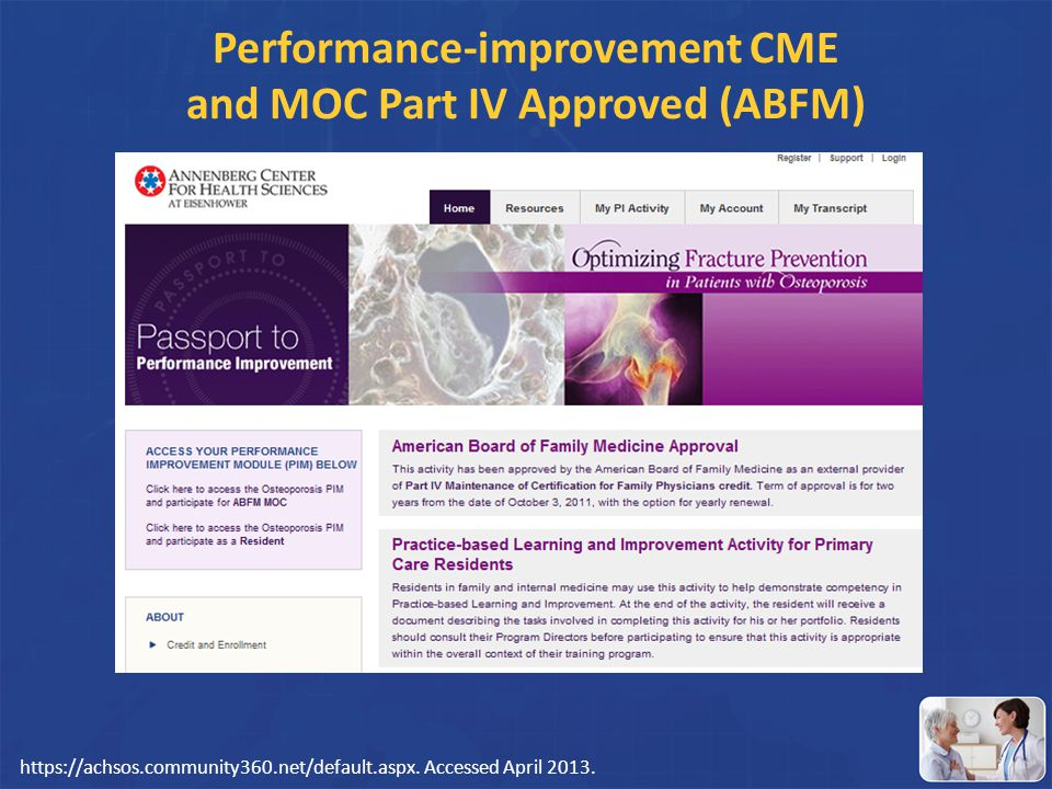 Performance-improvement CME and MOC Part IV Approved (ABFM)