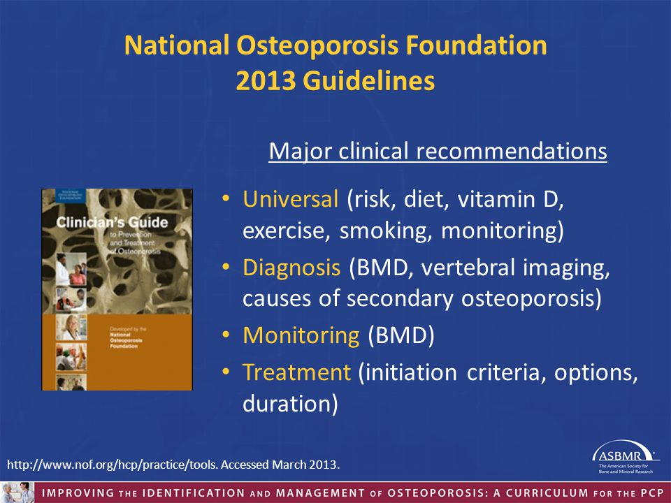 National Osteoporosis Foundation 2013 Guidelines
