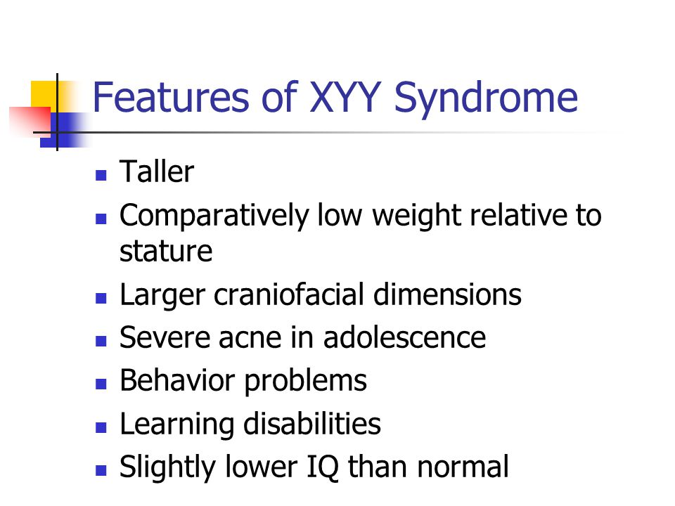 Features of XYY Syndrome