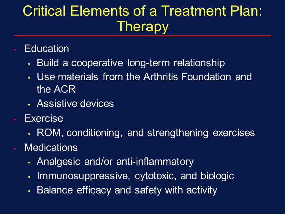 Critical Elements of a Treatment Plan: Therapy