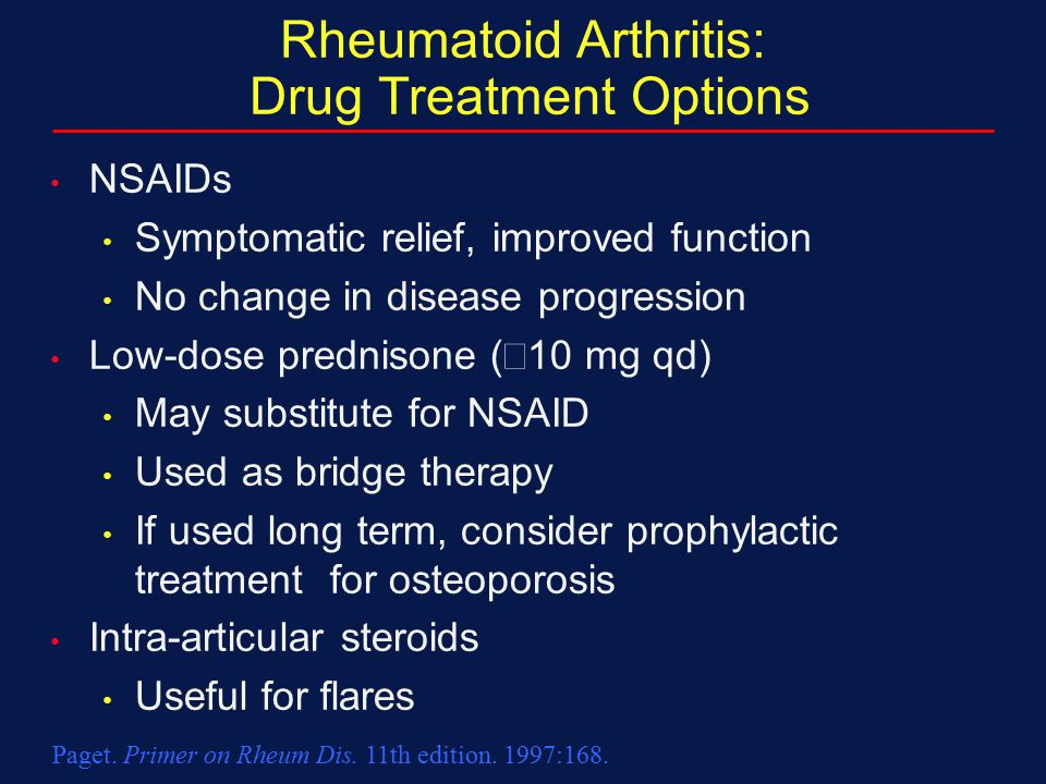 Rheumatoid Arthritis: Drug Treatment Options