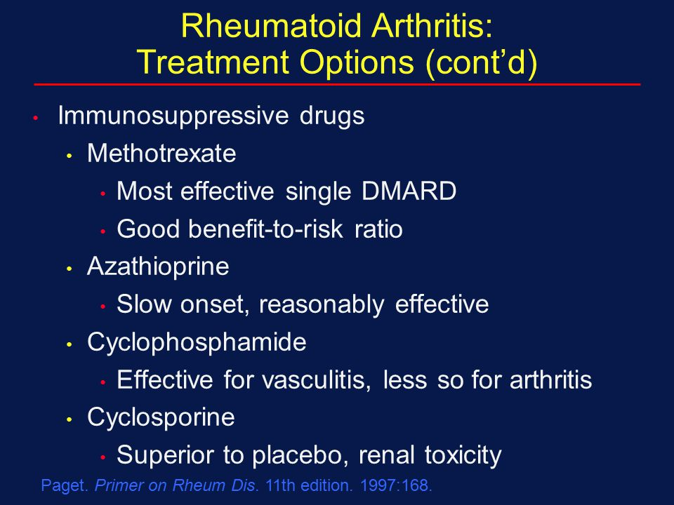 Rheumatoid Arthritis: Treatment Options (cont'd)