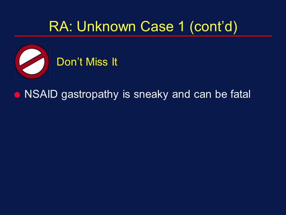 RA: Unknown Case 1 (cont'd)