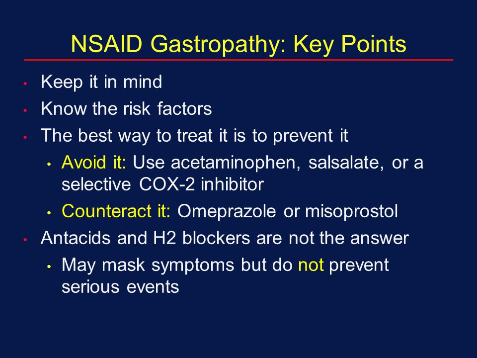 NSAID Gastropathy: Key Points