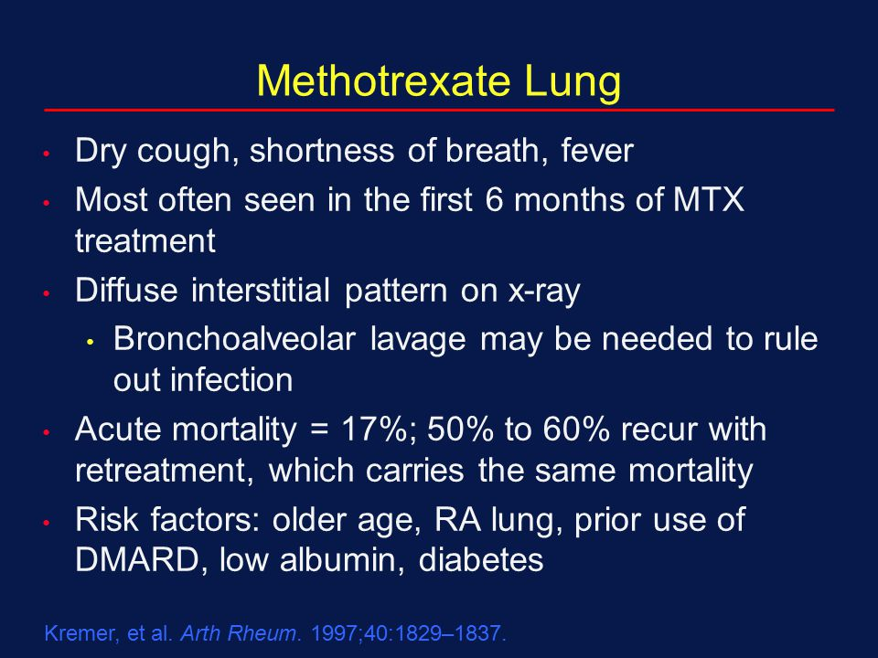 Methotrexate Lung Dry cough, shortness of breath, fever