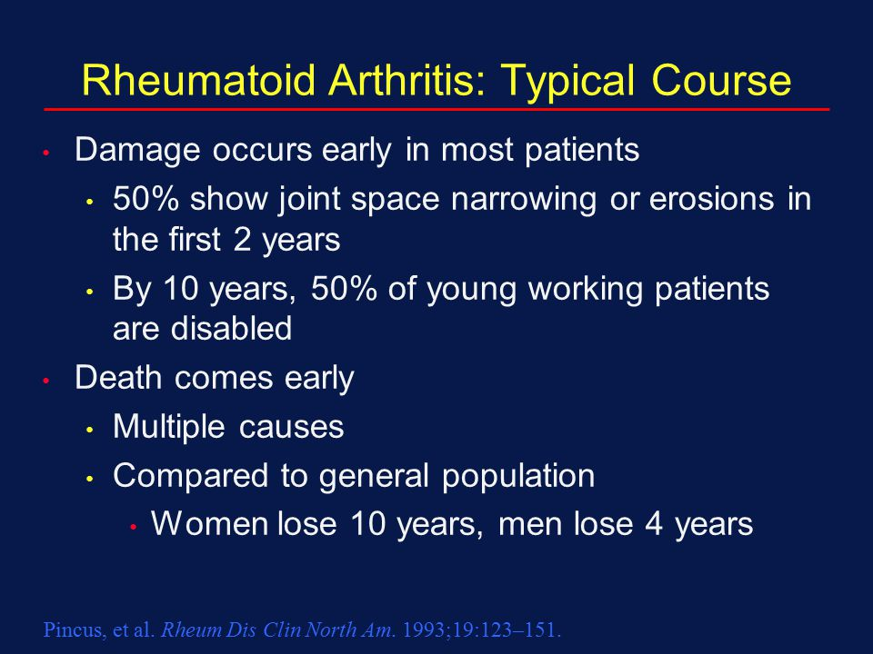 Rheumatoid Arthritis: Typical Course