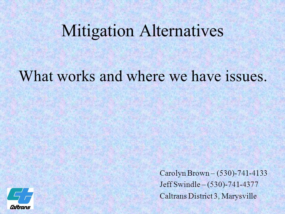 Mitigation Alternatives