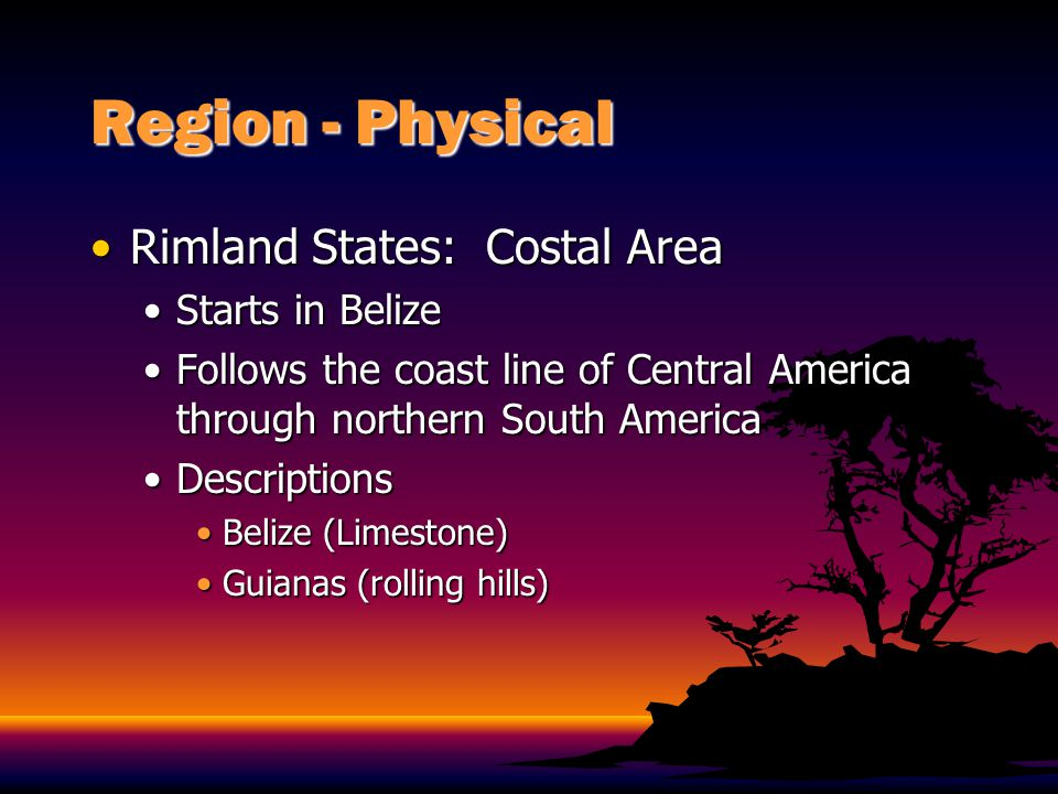 Region - Physical Rimland States: Costal Area Starts in Belize