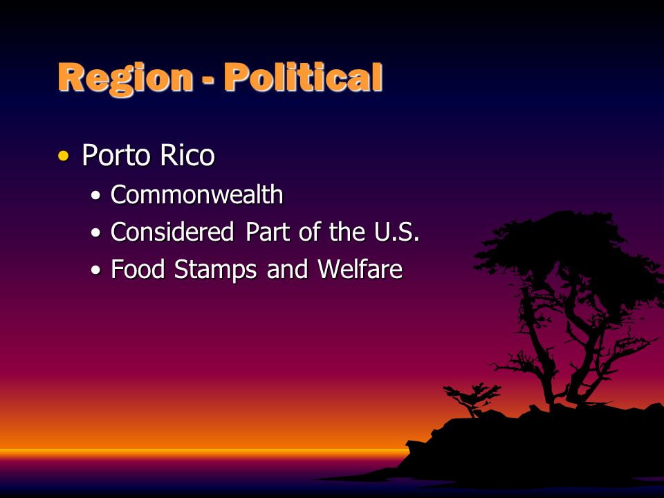 Region - Political Porto Rico Commonwealth Considered Part of the U.S.