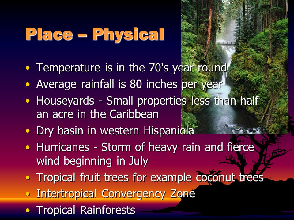 Place – Physical Temperature is in the 70 s year round