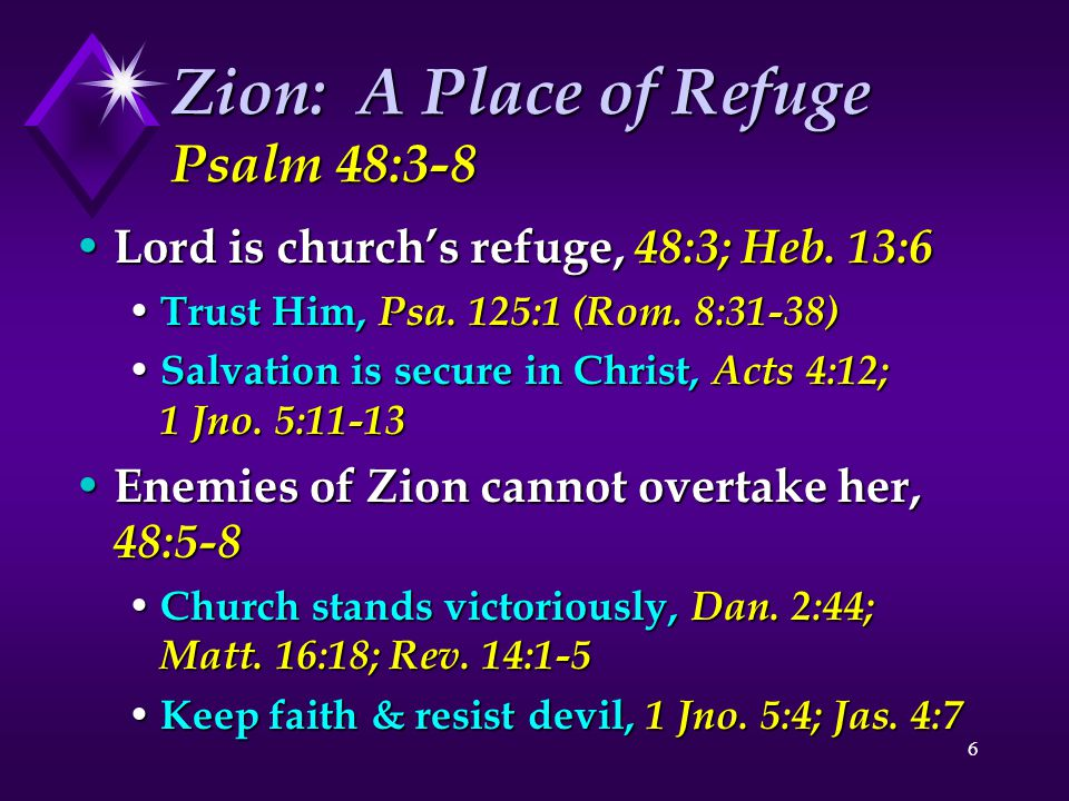 Zion: A Place of Refuge Psalm 48:3-8
