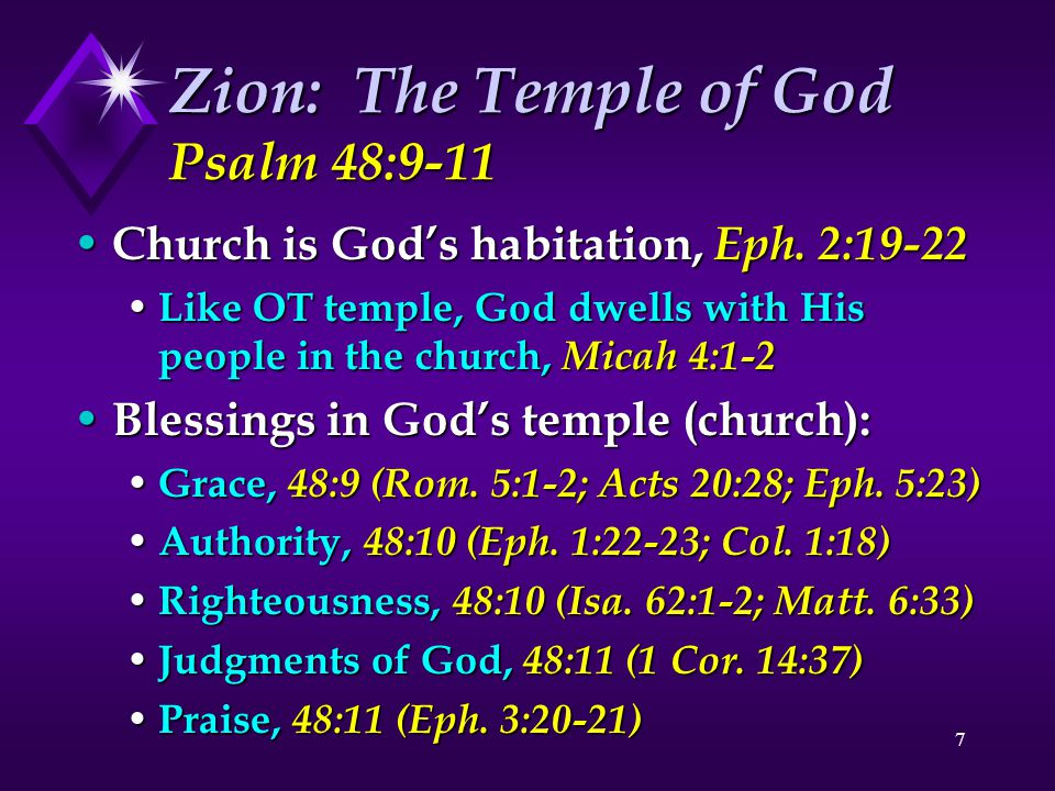 Zion: The Temple of God Psalm 48:9-11