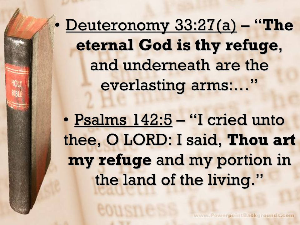 Deuteronomy 33:27(a) – The eternal God is thy refuge, and underneath are the everlasting arms:…