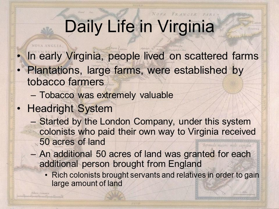 Daily Life in Virginia In early Virginia, people lived on scattered farms. Plantations, large farms, were established by tobacco farmers.