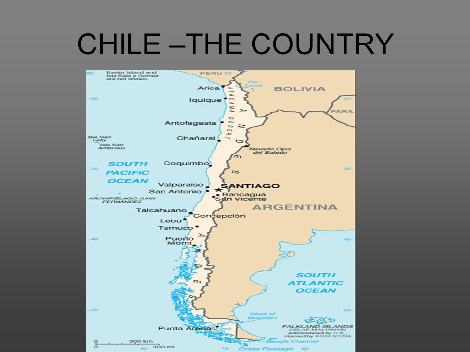 CHILE –THE COUNTRY Southern South America, bordering the South Pacific Ocean, between Argentina and Peru.