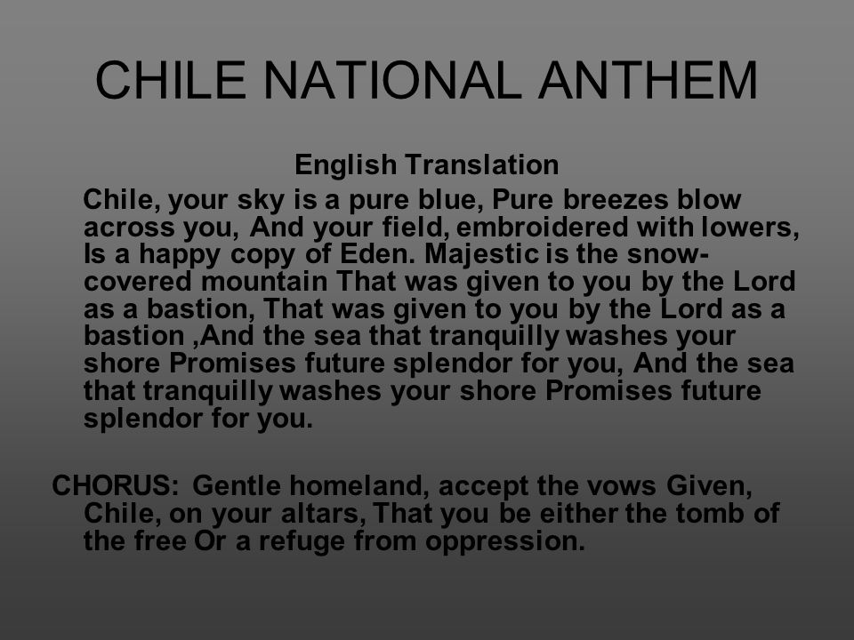 CHILE NATIONAL ANTHEM English Translation