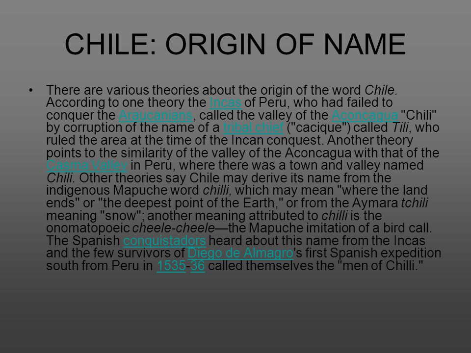 CHILE: ORIGIN OF NAME