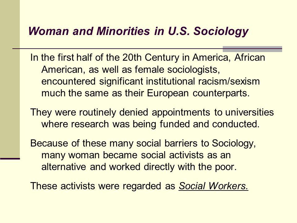 Woman and Minorities in U.S. Sociology