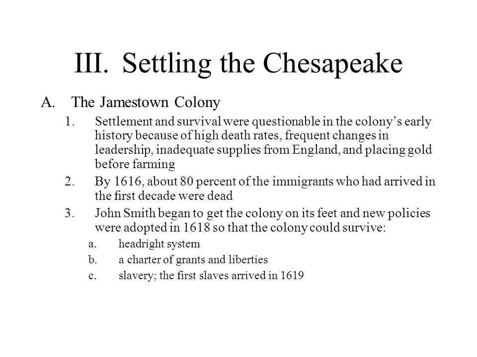 III. Settling the Chesapeake