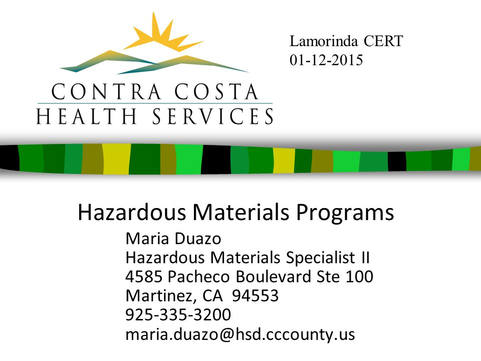 Hazardous Materials Programs Maria Duazo