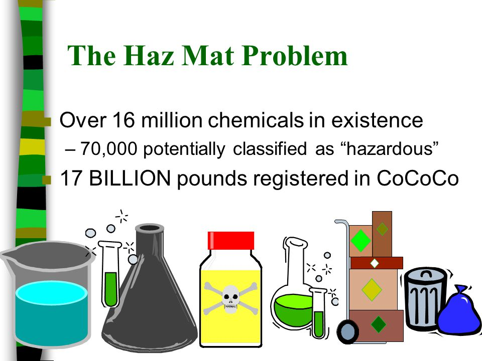 The Haz Mat Problem Over 16 million chemicals in existence
