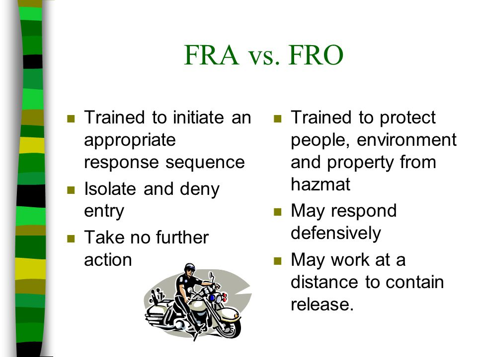 FRA vs. FRO Trained to initiate an appropriate response sequence