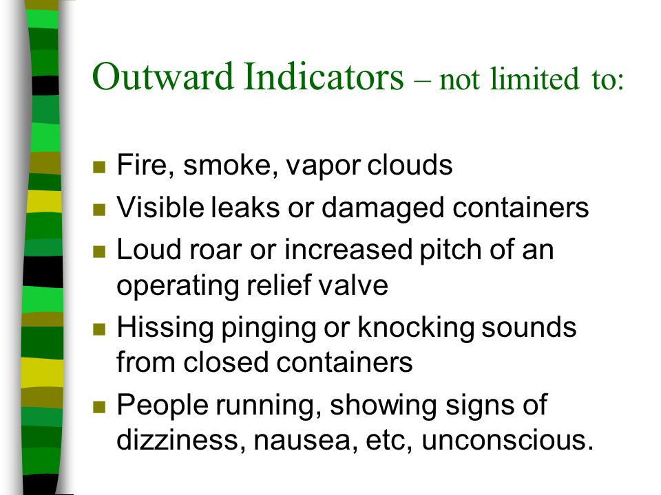 Outward Indicators – not limited to: