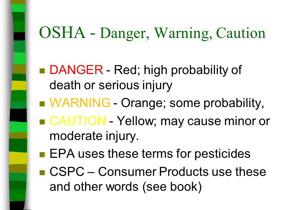 OSHA - Danger, Warning, Caution