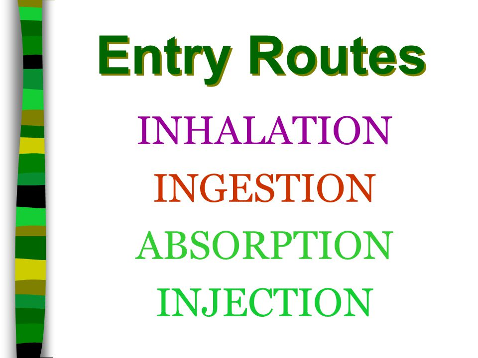 Entry Routes INHALATION INGESTION ABSORPTION INJECTION