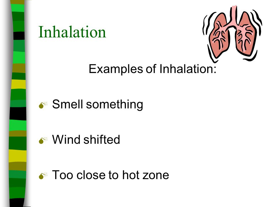 Examples of Inhalation: