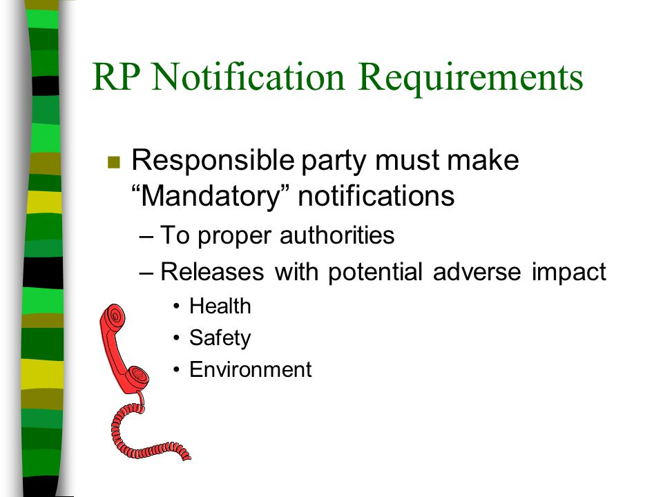 RP Notification Requirements