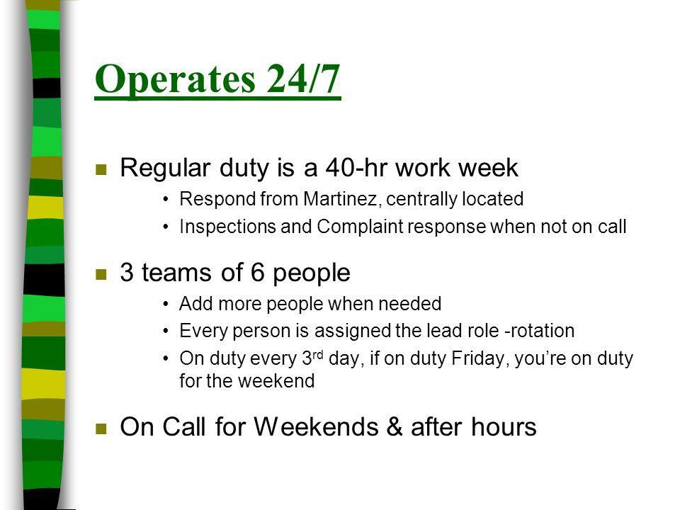 Operates 24/7 Regular duty is a 40-hr work week 3 teams of 6 people