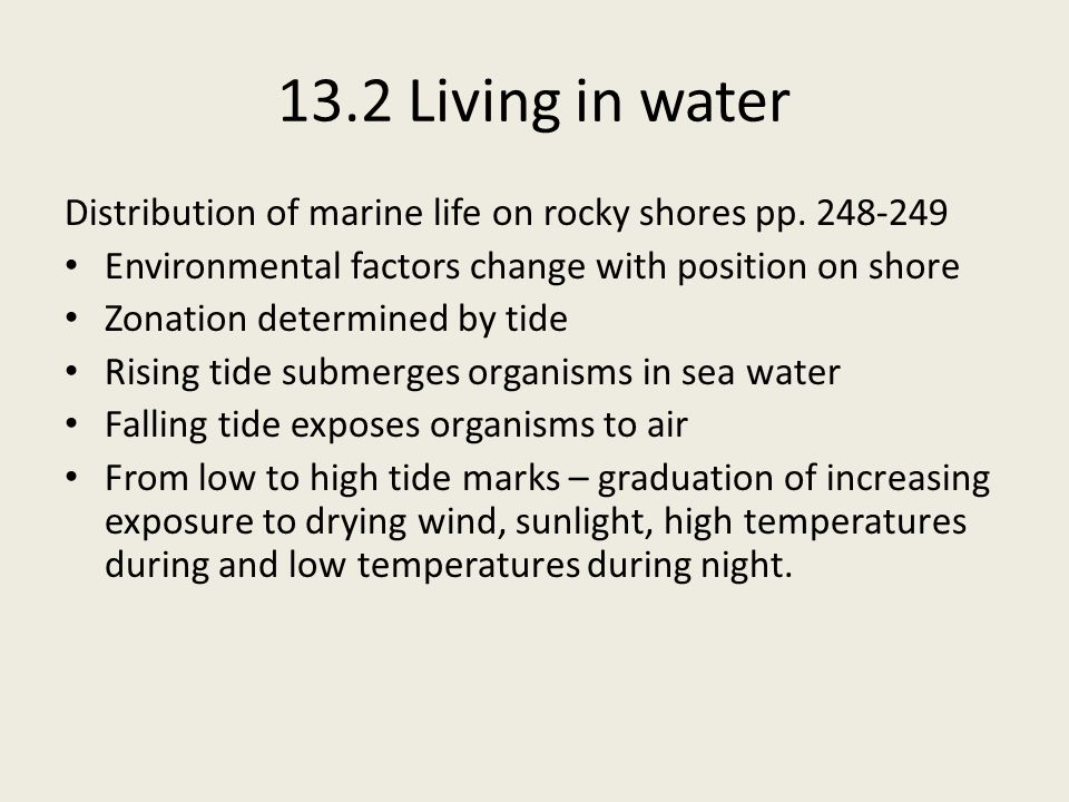 13.2 Living in water Distribution of marine life on rocky shores pp. 248-249. Environmental factors change with position on shore.