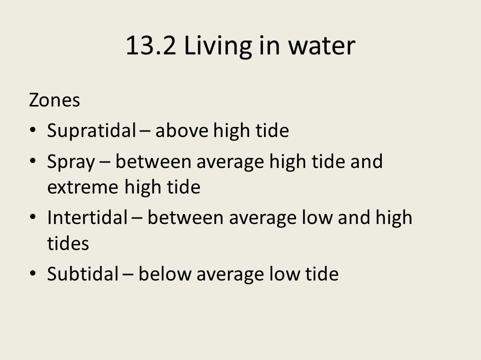 13.2 Living in water Zones Supratidal – above high tide