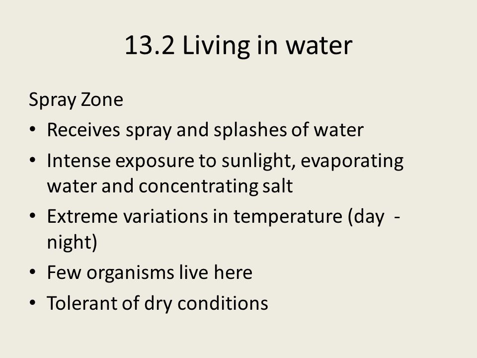 13.2 Living in water Spray Zone Receives spray and splashes of water