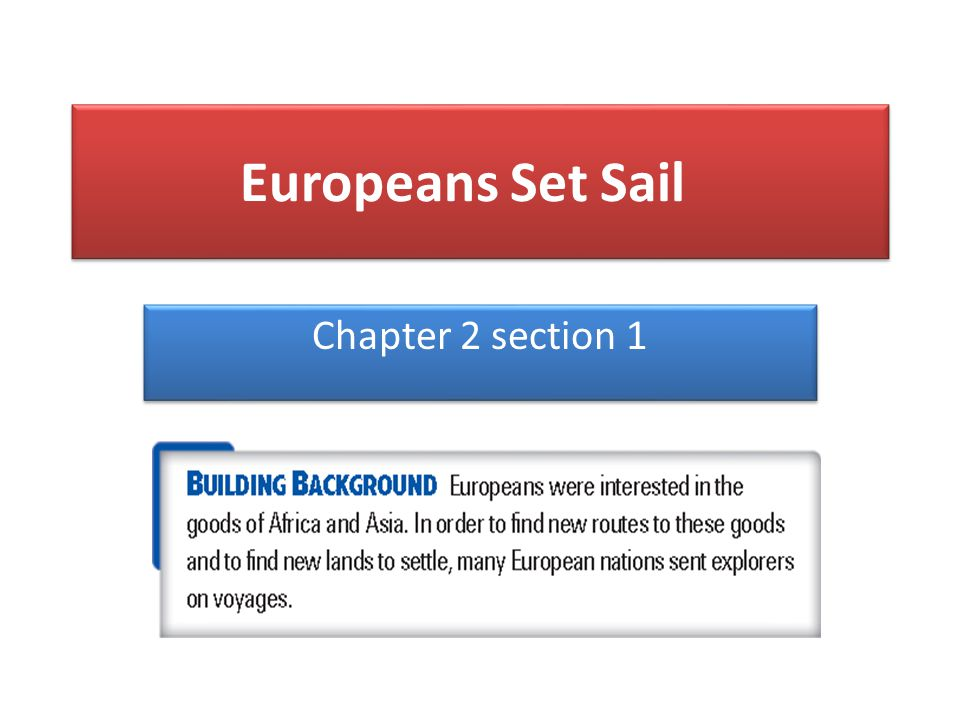 Europeans Set Sail Chapter 2 section 1