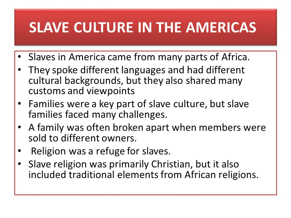 SLAVE CULTURE IN THE AMERICAS