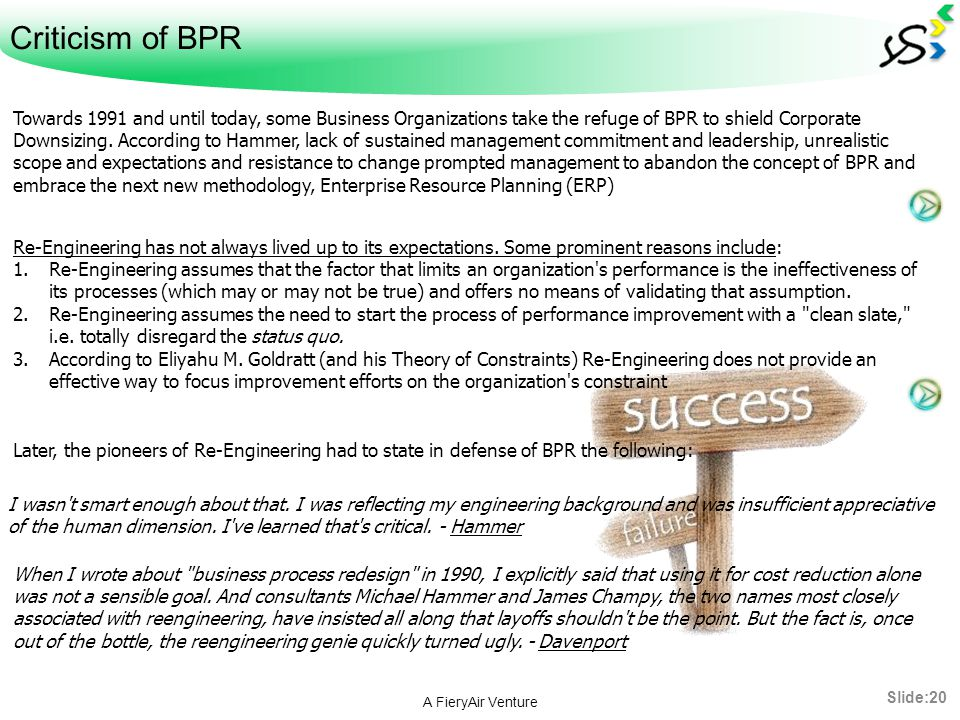Criticism of BPR